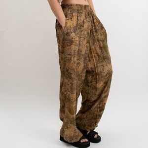 Vintage Cork Patterned Palazzo Pants, w/ Pockets!